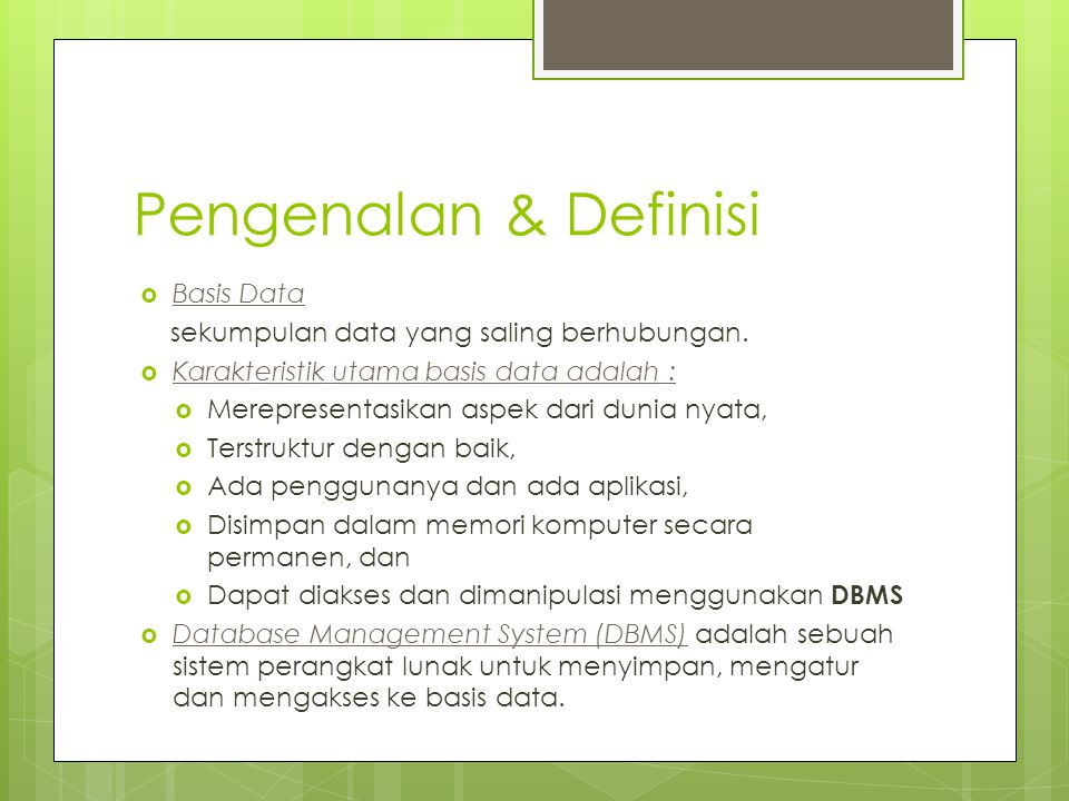 Pengenalan & Definisi Basis Data