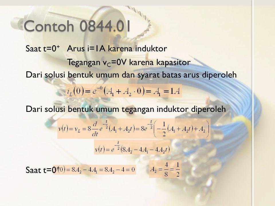 Contoh 0844.01 Saat t=0+ Arus i=1A karena induktor