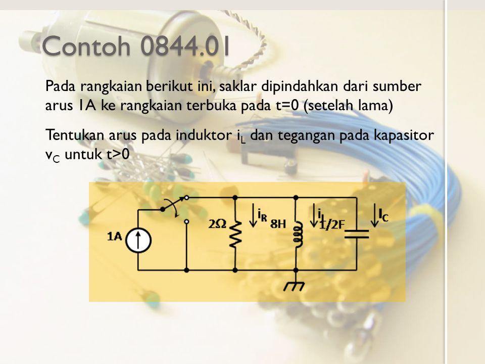 Contoh 0844.01 Pada rangkaian berikut ini, saklar dipindahkan dari sumber arus 1A ke rangkaian terbuka pada t=0 (setelah lama)