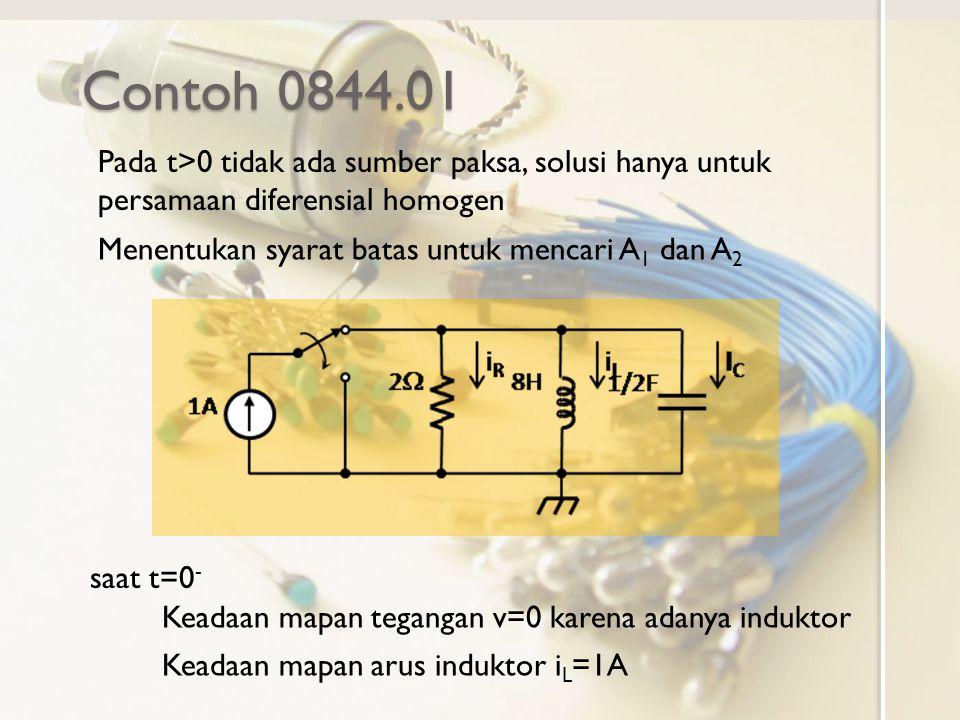 Contoh 0844.01 Pada t>0 tidak ada sumber paksa, solusi hanya untuk persamaan diferensial homogen. Menentukan syarat batas untuk mencari A1 dan A2.