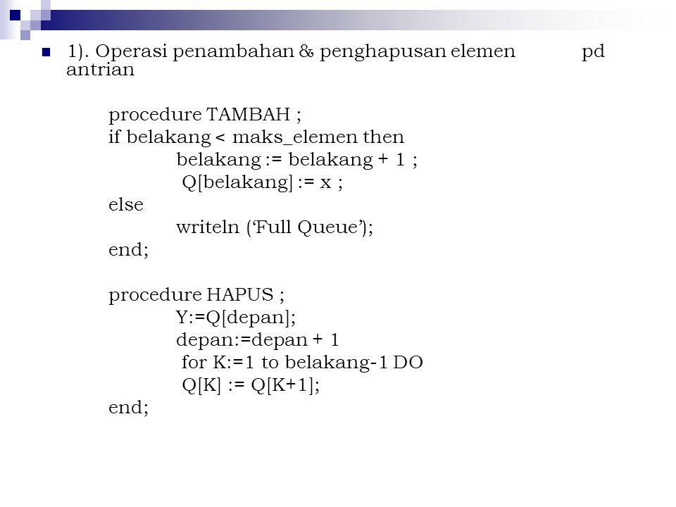 1). Operasi penambahan & penghapusan elemen pd antrian