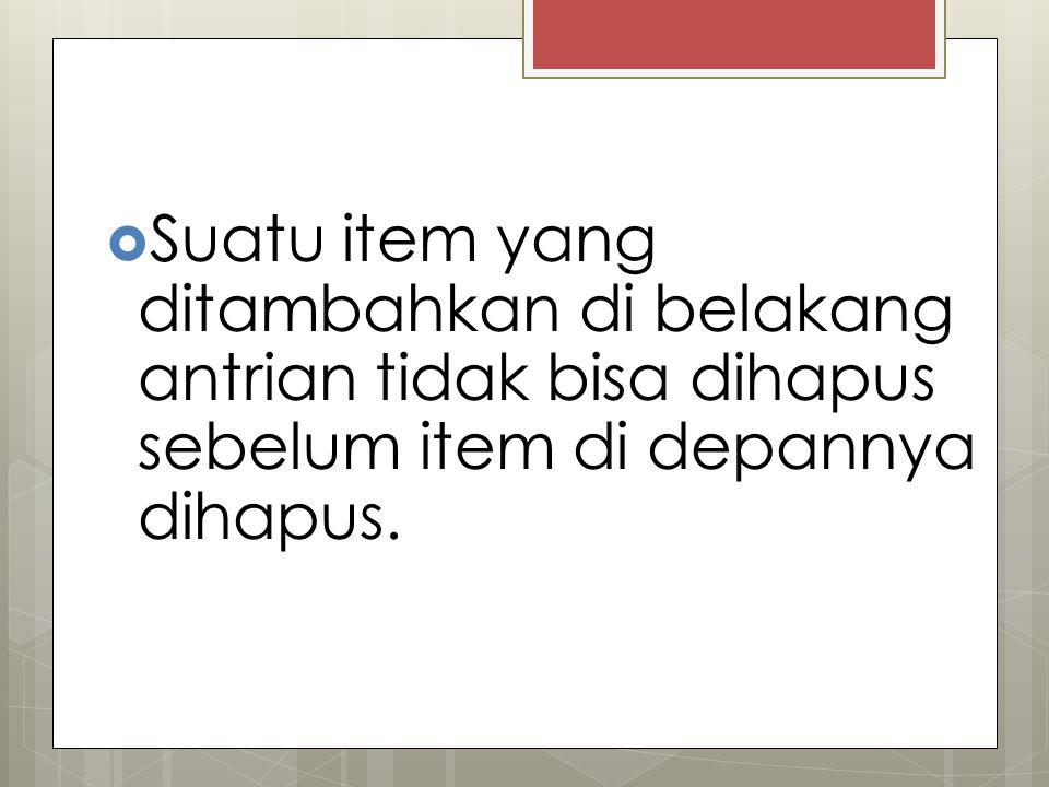 PERLU DIINGAT Suatu item yang ditambahkan di belakang antrian tidak bisa dihapus sebelum item di depannya dihapus.