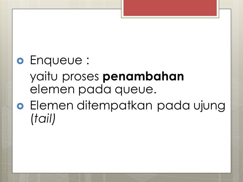 Enqueue : yaitu proses penambahan elemen pada queue. Elemen ditempatkan pada ujung (tail)