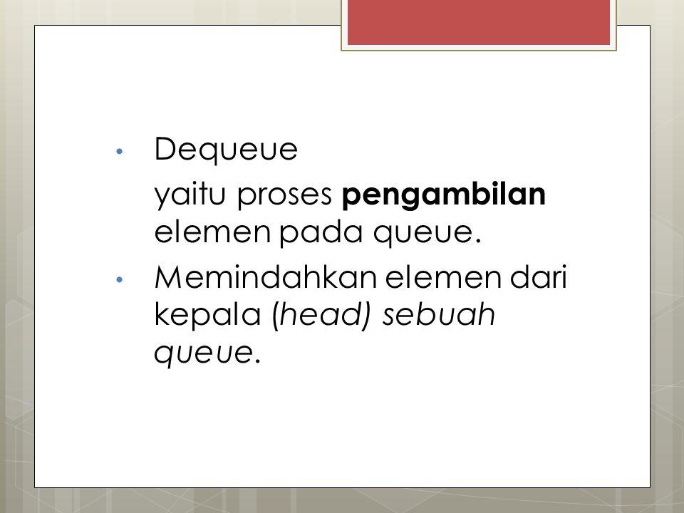 Dequeue yaitu proses pengambilan elemen pada queue.