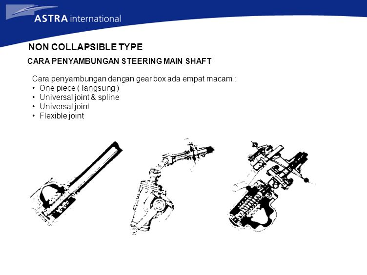 NON COLLAPSIBLE TYPE CARA PENYAMBUNGAN STEERING MAIN SHAFT