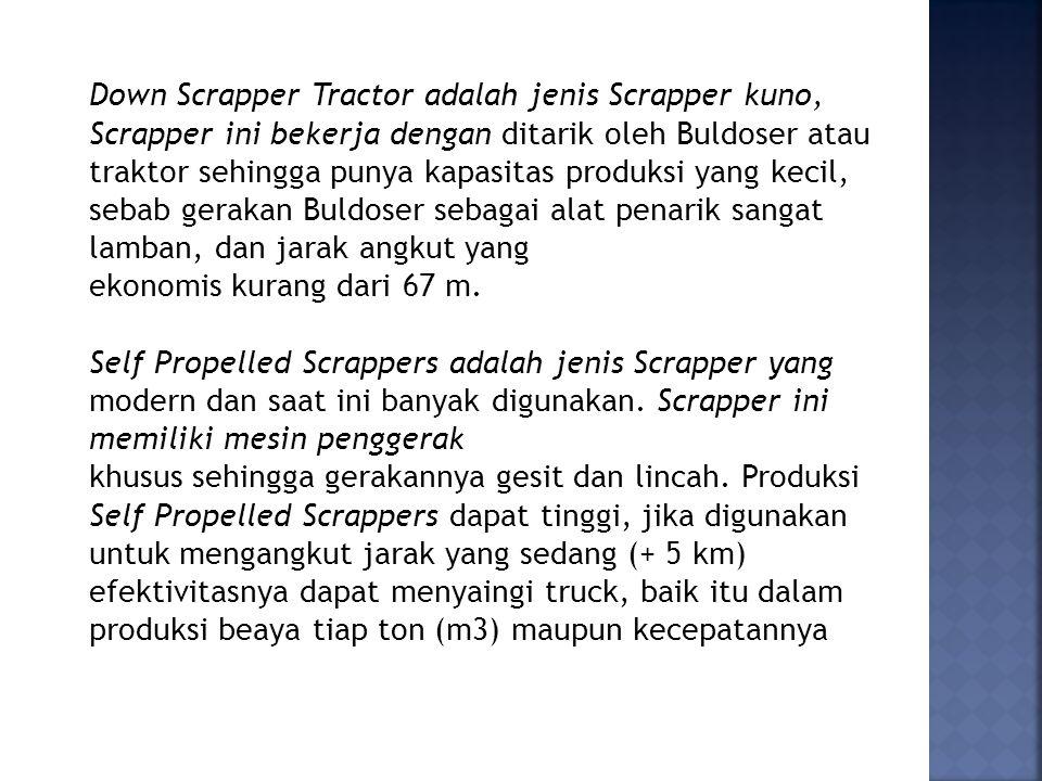 Down Scrapper Tractor adalah jenis Scrapper kuno, Scrapper ini bekerja dengan ditarik oleh Buldoser atau traktor sehingga punya kapasitas produksi yang kecil, sebab gerakan Buldoser sebagai alat penarik sangat lamban, dan jarak angkut yang