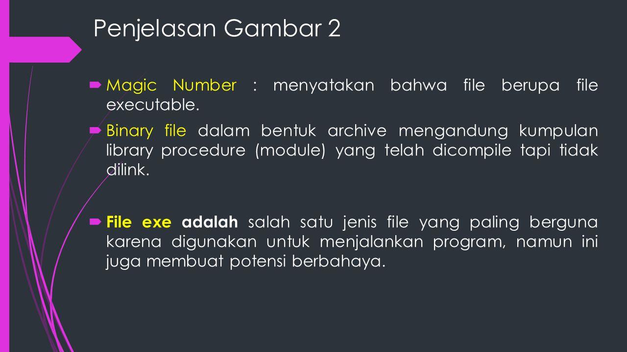 Penjelasan Gambar 2 Magic Number : menyatakan bahwa file berupa file executable.