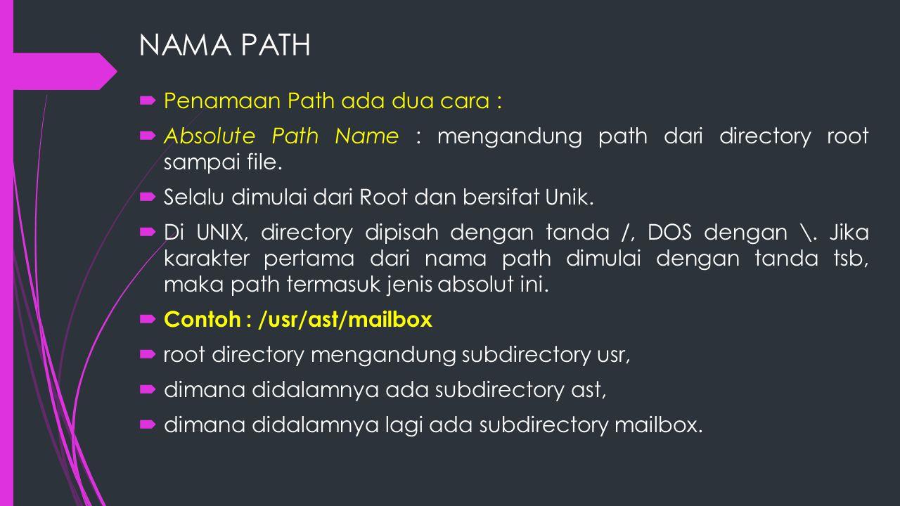 NAMA PATH Penamaan Path ada dua cara :