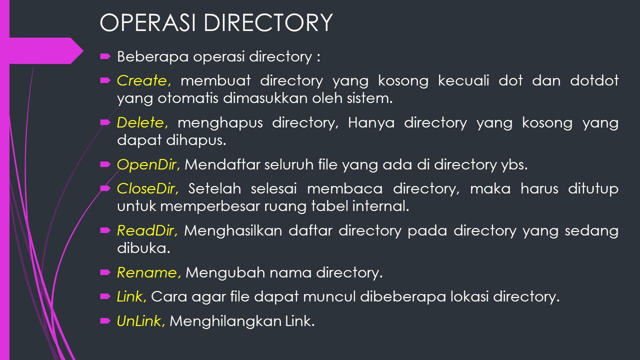 OPERASI DIRECTORY Beberapa operasi directory :