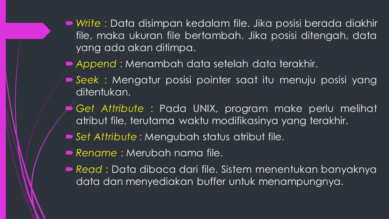 Write : Data disimpan kedalam file