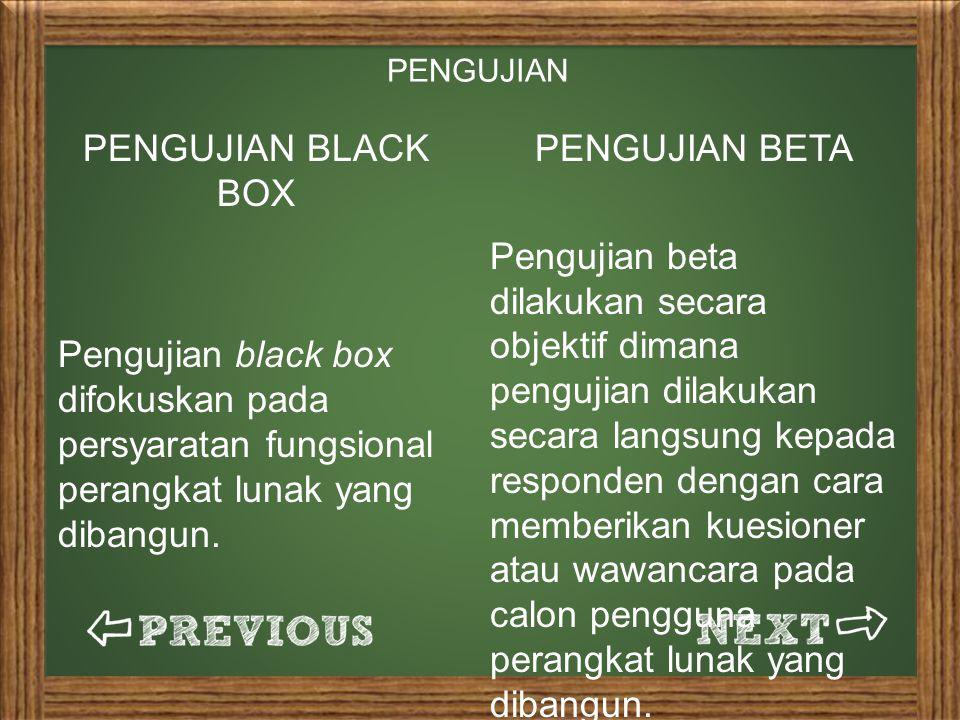 PENGUJIAN PENGUJIAN BLACK BOX. Pengujian black box difokuskan pada persyaratan fungsional perangkat lunak yang dibangun.