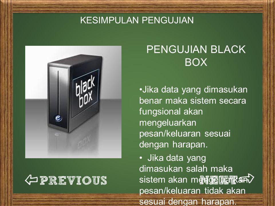 PENGUJIAN BLACK BOX KESIMPULAN PENGUJIAN