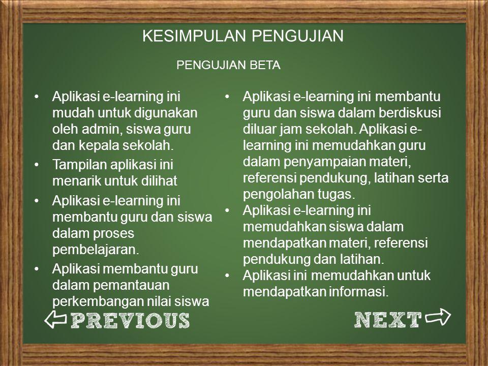 KESIMPULAN PENGUJIAN PENGUJIAN BETA. Aplikasi e-learning ini mudah untuk digunakan oleh admin, siswa guru dan kepala sekolah.