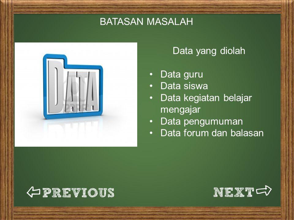 BATASAN MASALAH Data yang diolah. Data guru. Data siswa. Data kegiatan belajar mengajar. Data pengumuman.