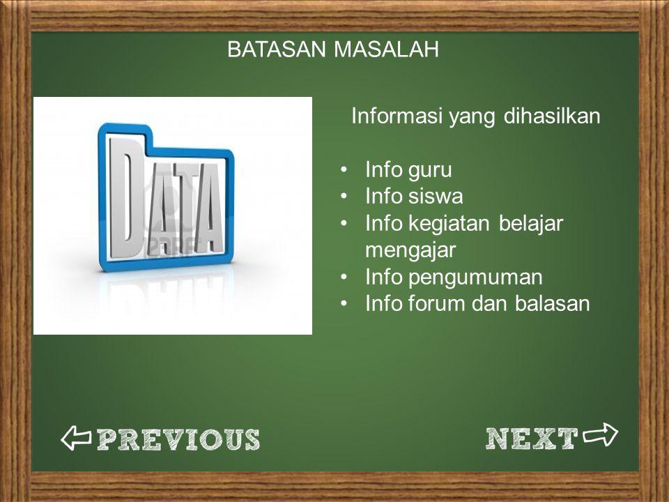 Informasi yang dihasilkan