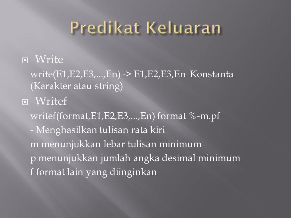 Predikat Keluaran Write Writef