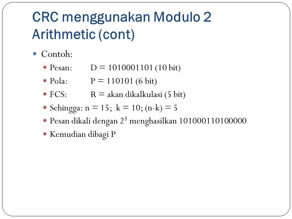 CRC menggunakan Modulo 2 Arithmetic (cont)