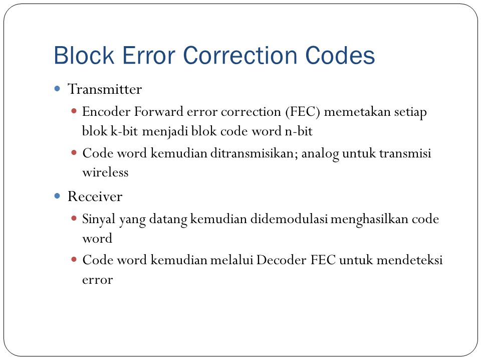 Block Error Correction Codes
