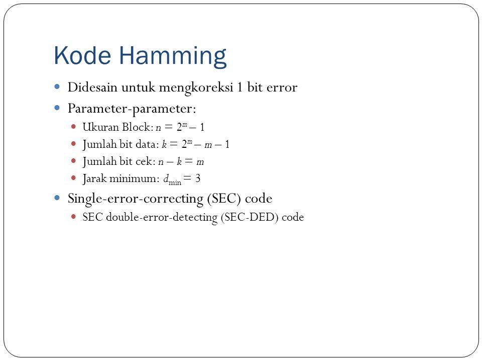 Kode Hamming Didesain untuk mengkoreksi 1 bit error