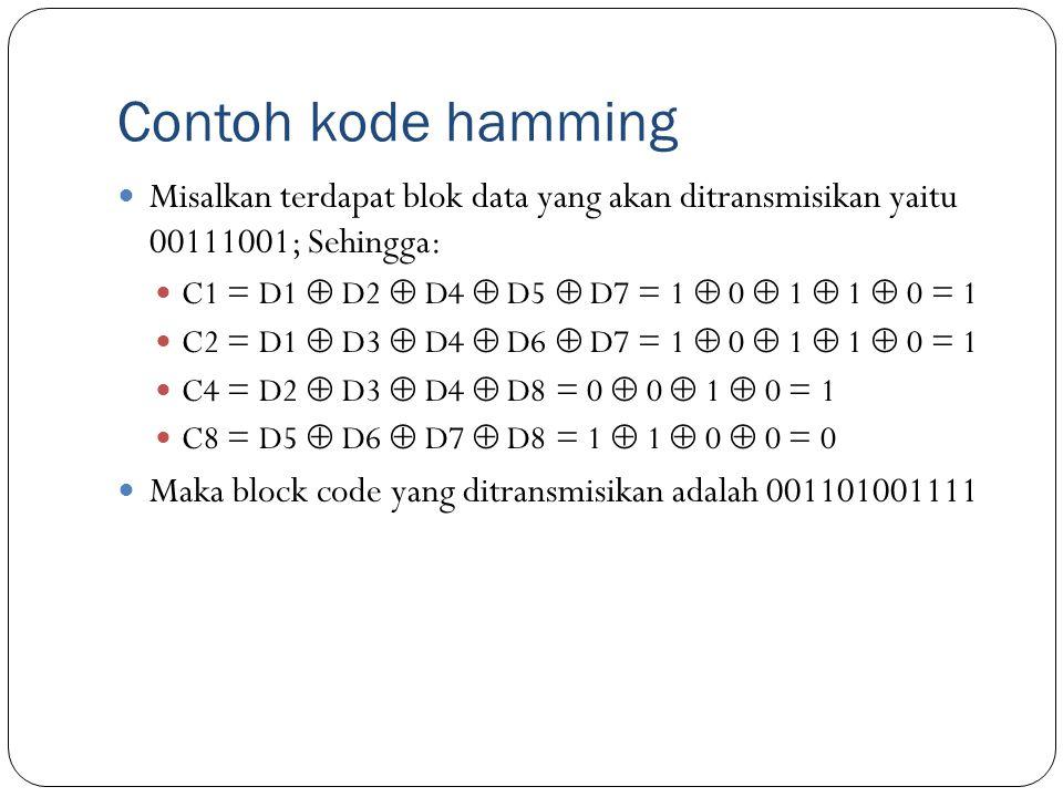 Contoh kode hamming Misalkan terdapat blok data yang akan ditransmisikan yaitu 00111001; Sehingga: