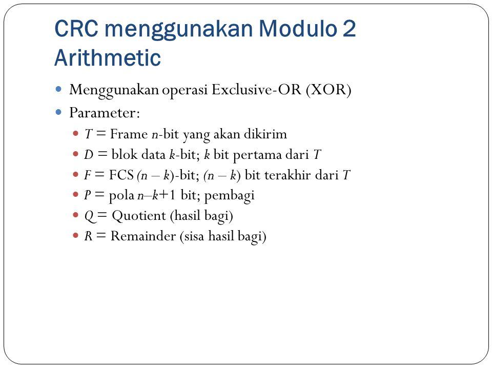 CRC menggunakan Modulo 2 Arithmetic