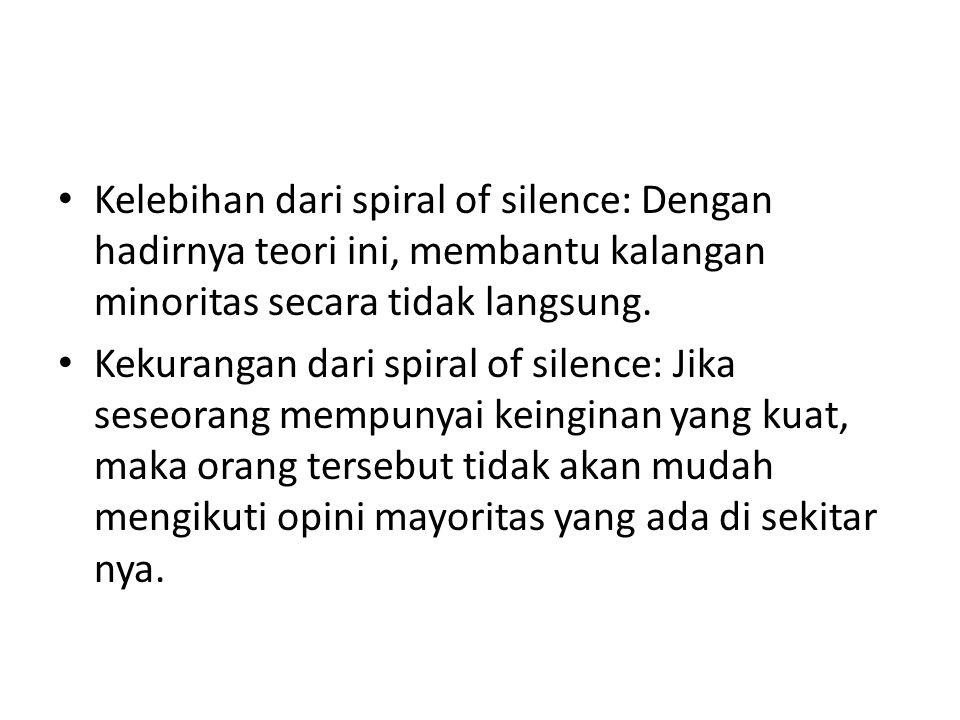 Kelebihan dari spiral of silence: Dengan hadirnya teori ini, membantu kalangan minoritas secara tidak langsung.