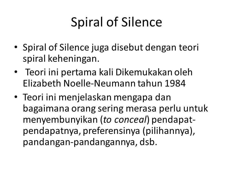 Spiral of Silence Spiral of Silence juga disebut dengan teori spiral keheningan.