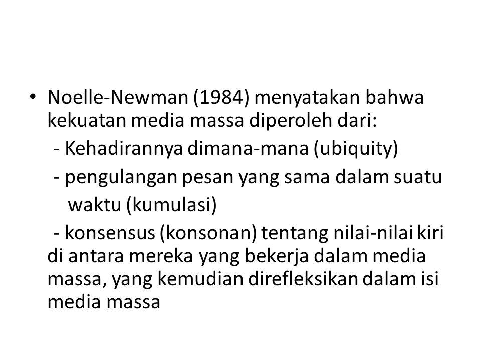Noelle-Newman (1984) menyatakan bahwa kekuatan media massa diperoleh dari: