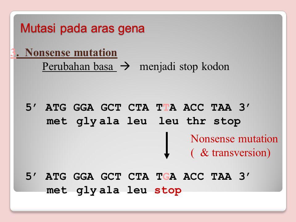 Mutasi pada aras gena 3. Nonsense mutation