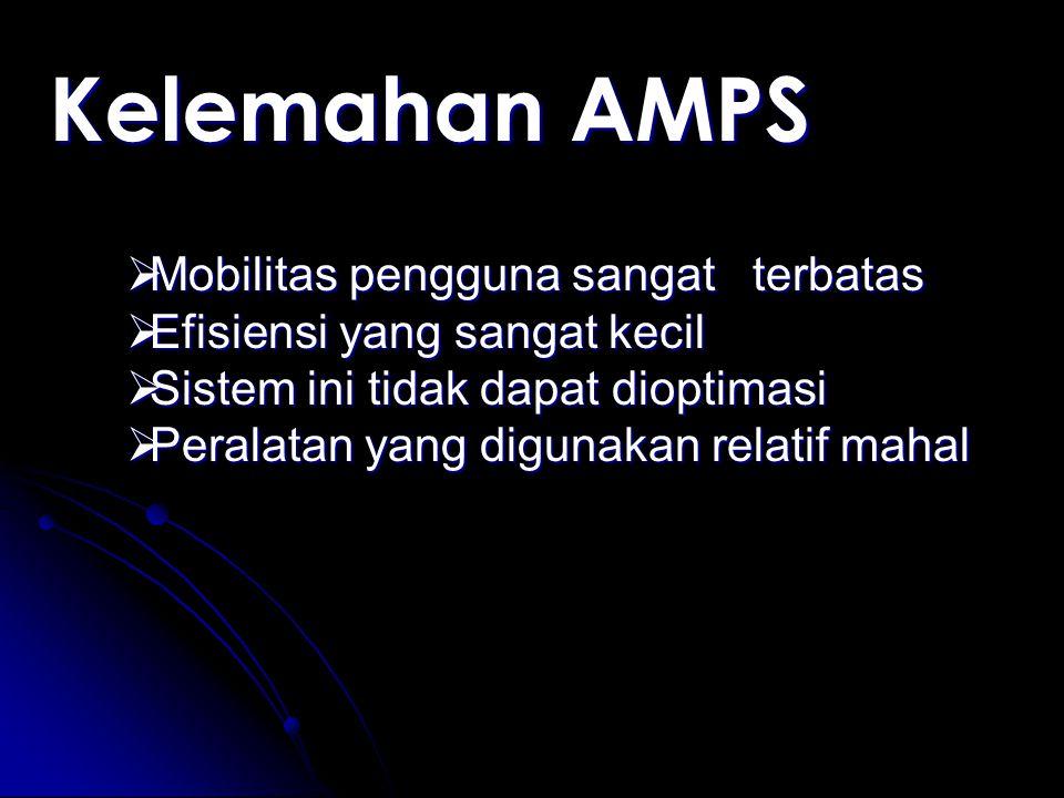 Kelemahan AMPS Mobilitas pengguna sangat terbatas
