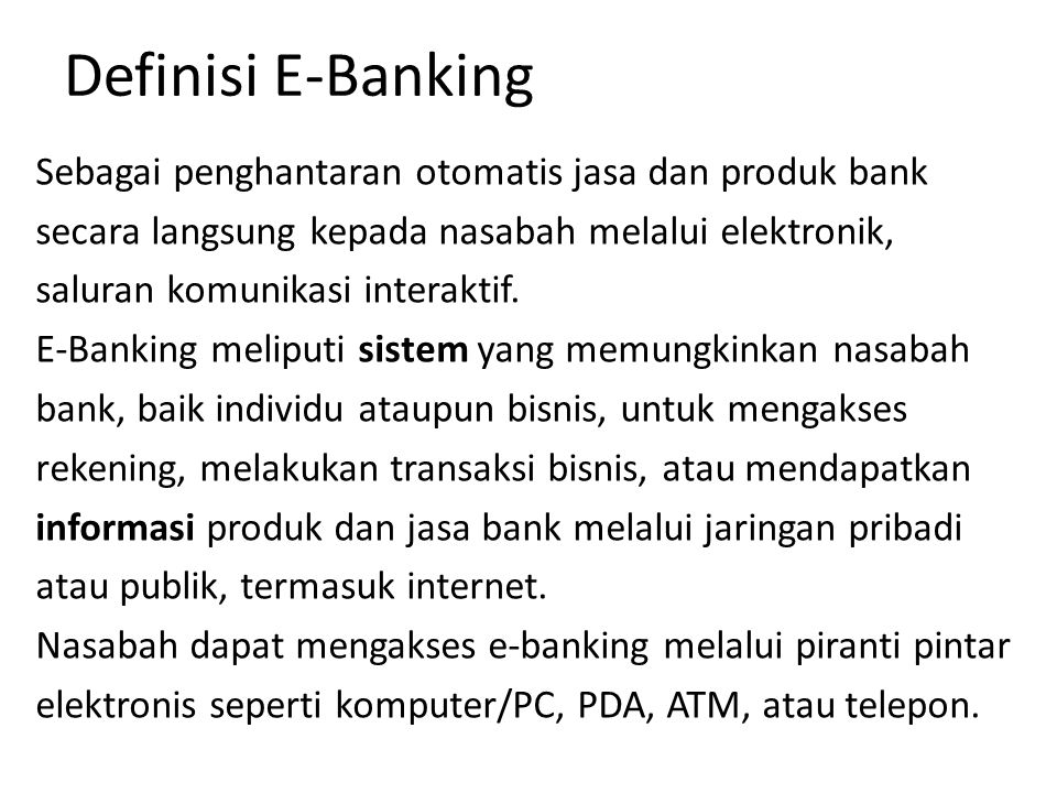 Definisi E-Banking