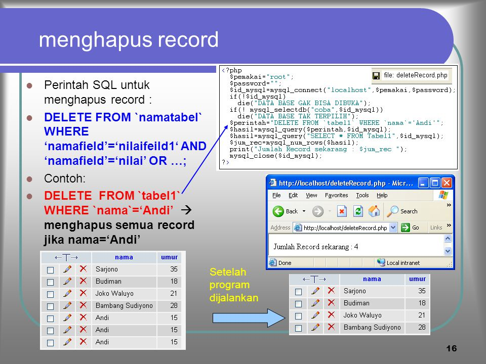 menghapus record Perintah SQL untuk menghapus record :