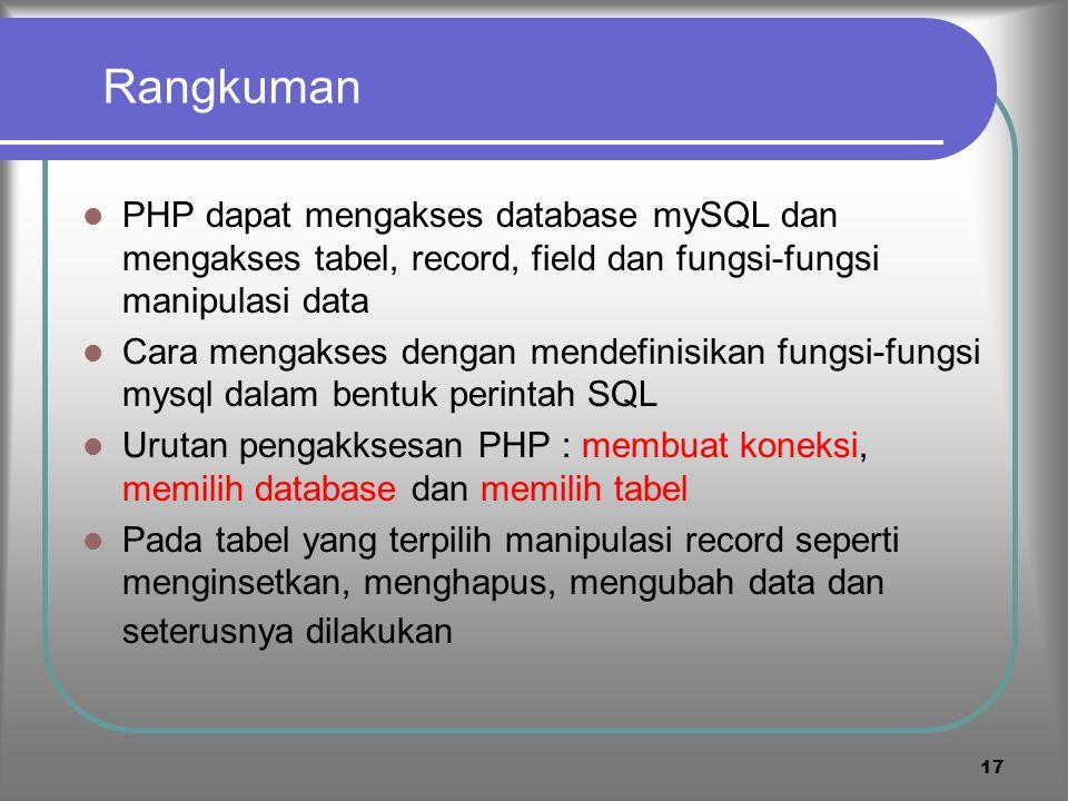 Rangkuman PHP dapat mengakses database mySQL dan mengakses tabel, record, field dan fungsi-fungsi manipulasi data.