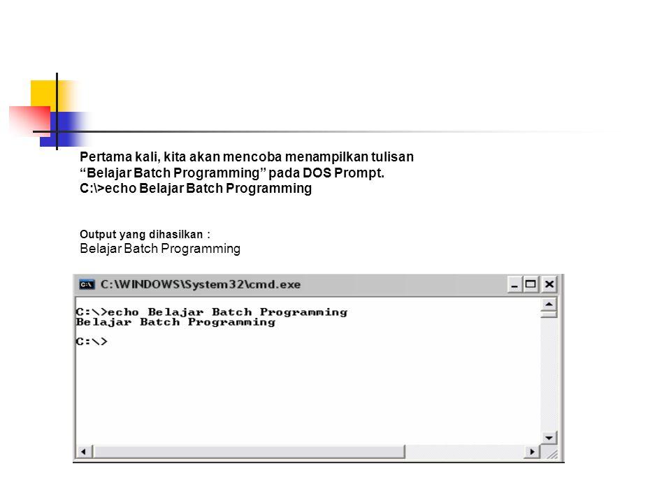 C:\>echo Belajar Batch Programming