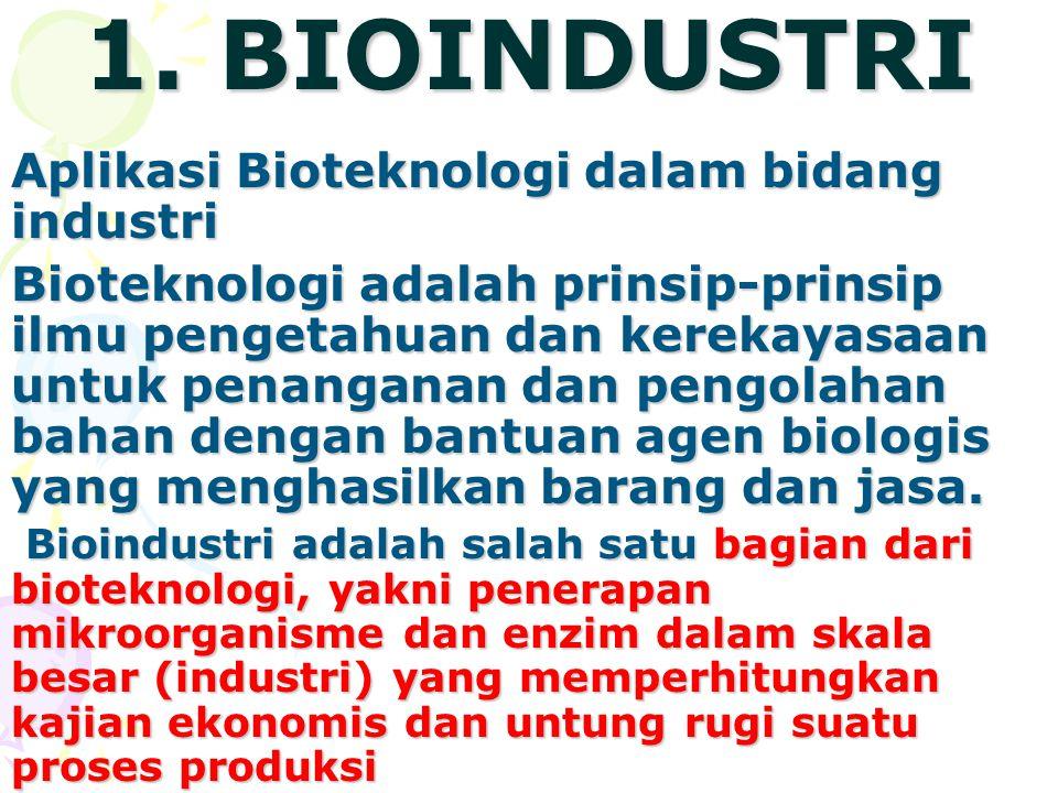 1. BIOINDUSTRI Aplikasi Bioteknologi dalam bidang industri