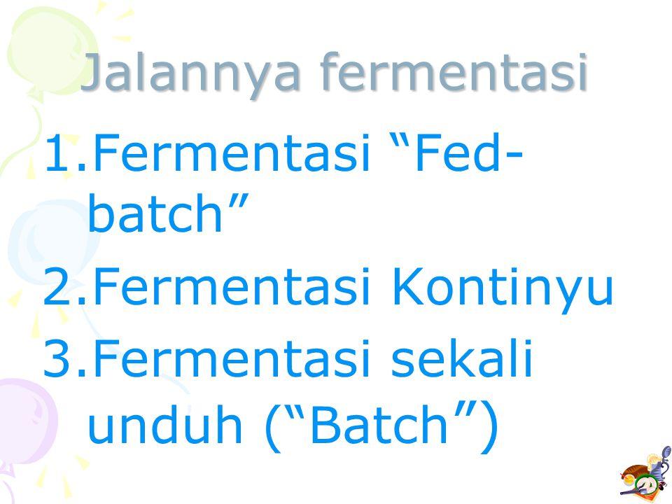 Jalannya fermentasi Fermentasi Fed-batch Fermentasi Kontinyu Fermentasi sekali unduh ( Batch )