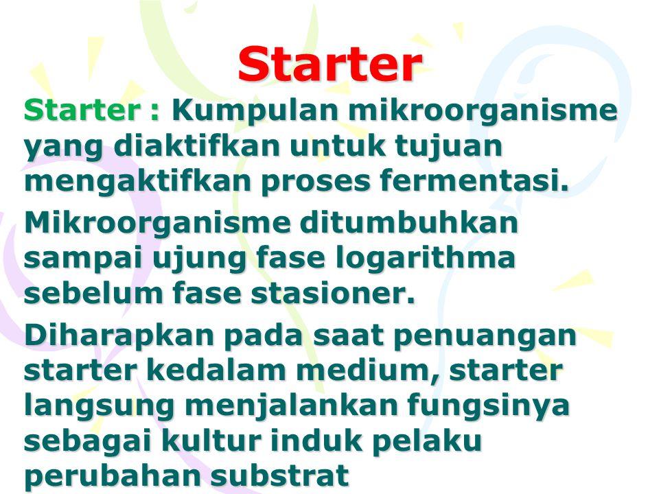 Starter Starter : Kumpulan mikroorganisme yang diaktifkan untuk tujuan mengaktifkan proses fermentasi.