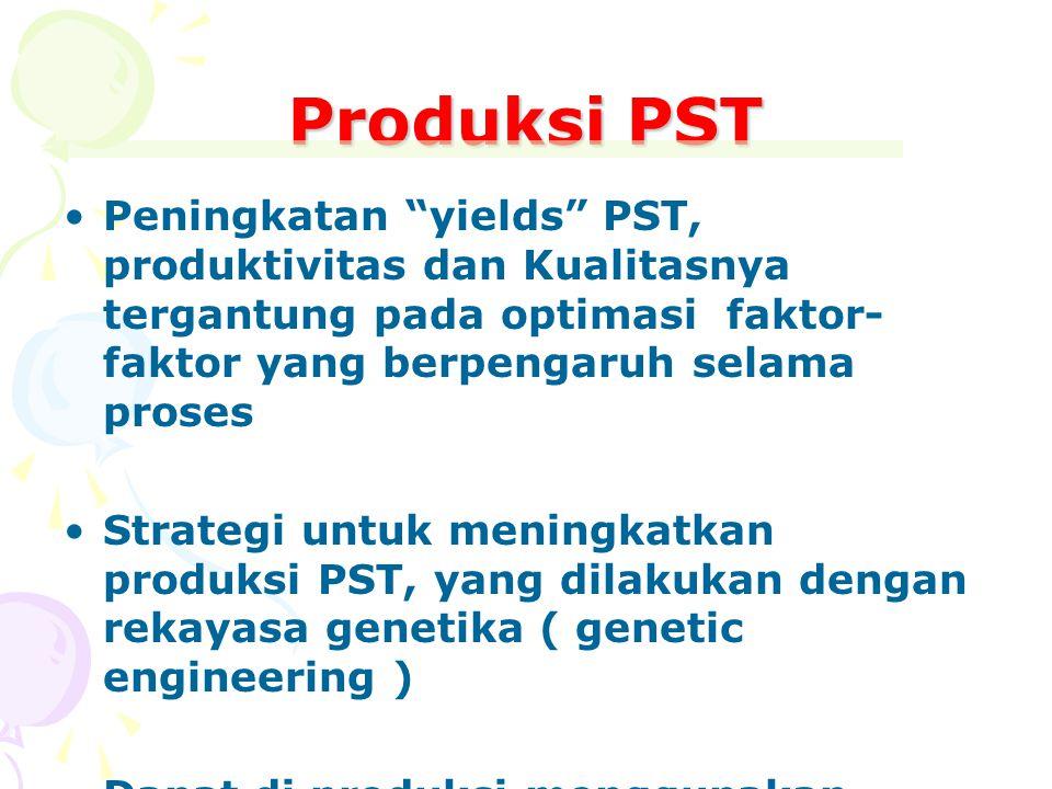 Produksi PST Peningkatan yields PST, produktivitas dan Kualitasnya tergantung pada optimasi faktor-faktor yang berpengaruh selama proses.