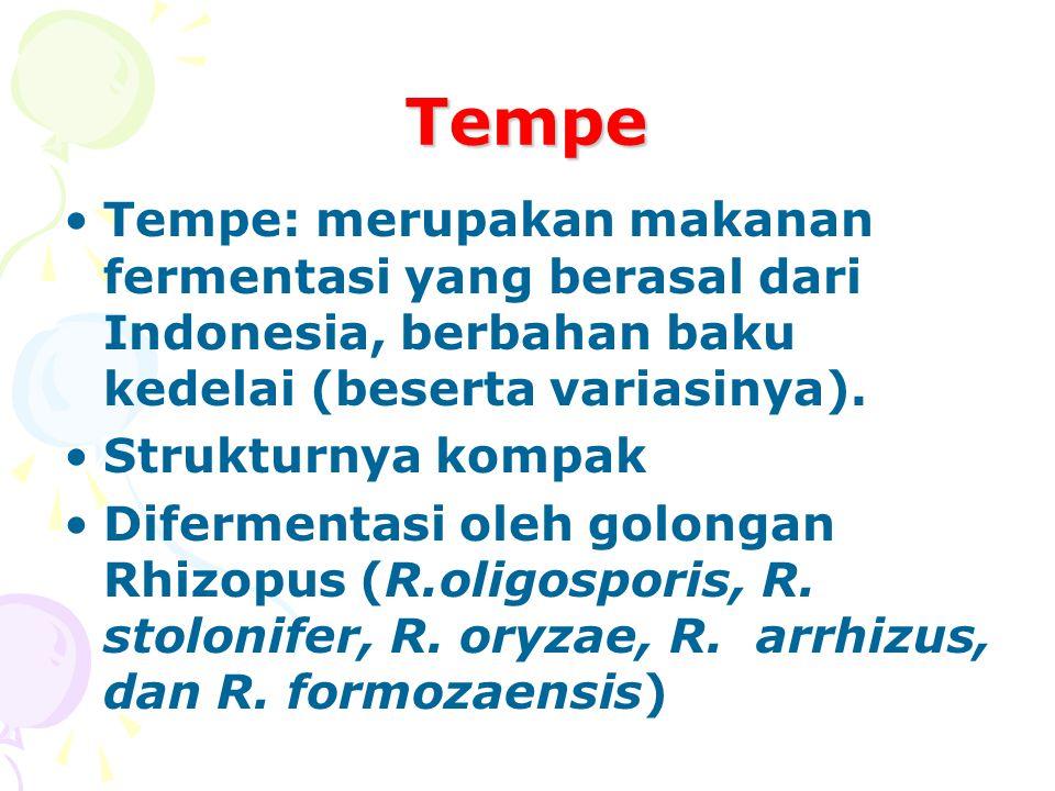 Tempe Tempe: merupakan makanan fermentasi yang berasal dari Indonesia, berbahan baku kedelai (beserta variasinya).