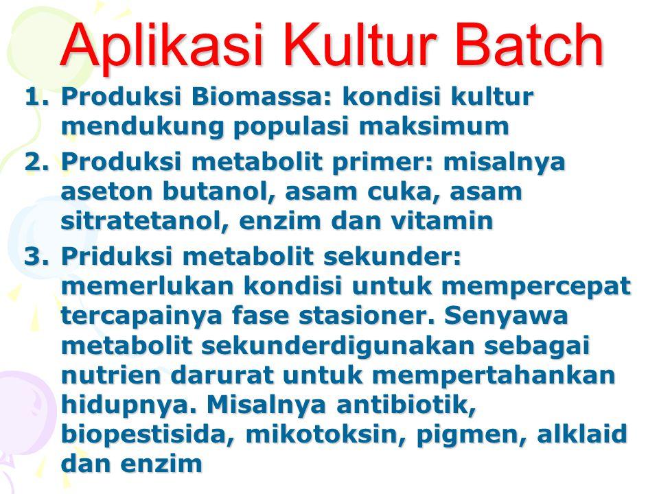 Aplikasi Kultur Batch Produksi Biomassa: kondisi kultur mendukung populasi maksimum.