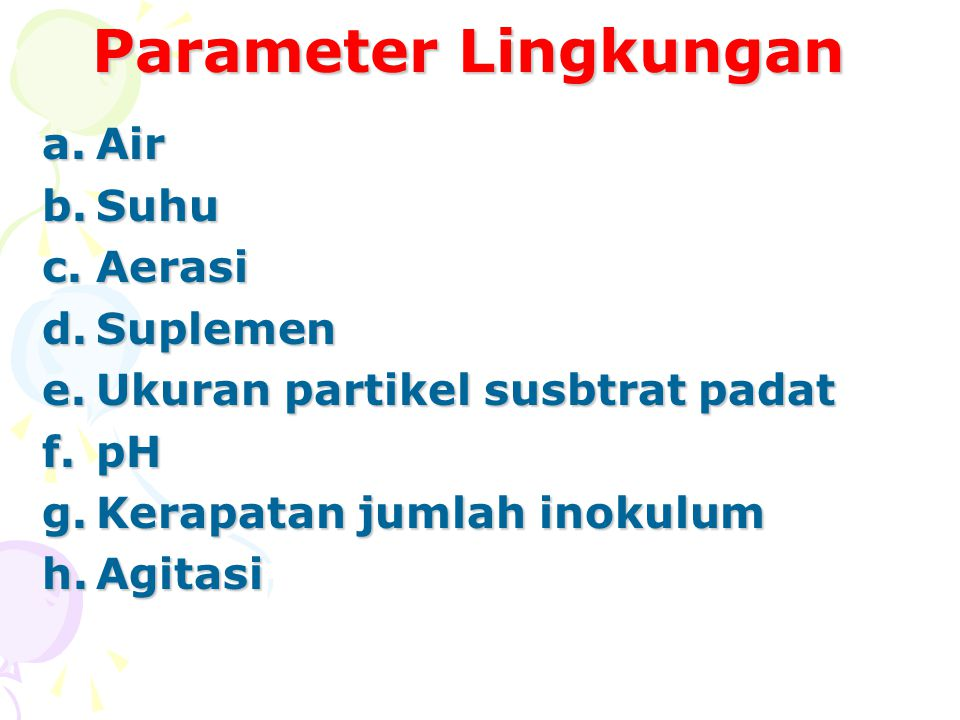 Parameter Lingkungan Air Suhu Aerasi Suplemen
