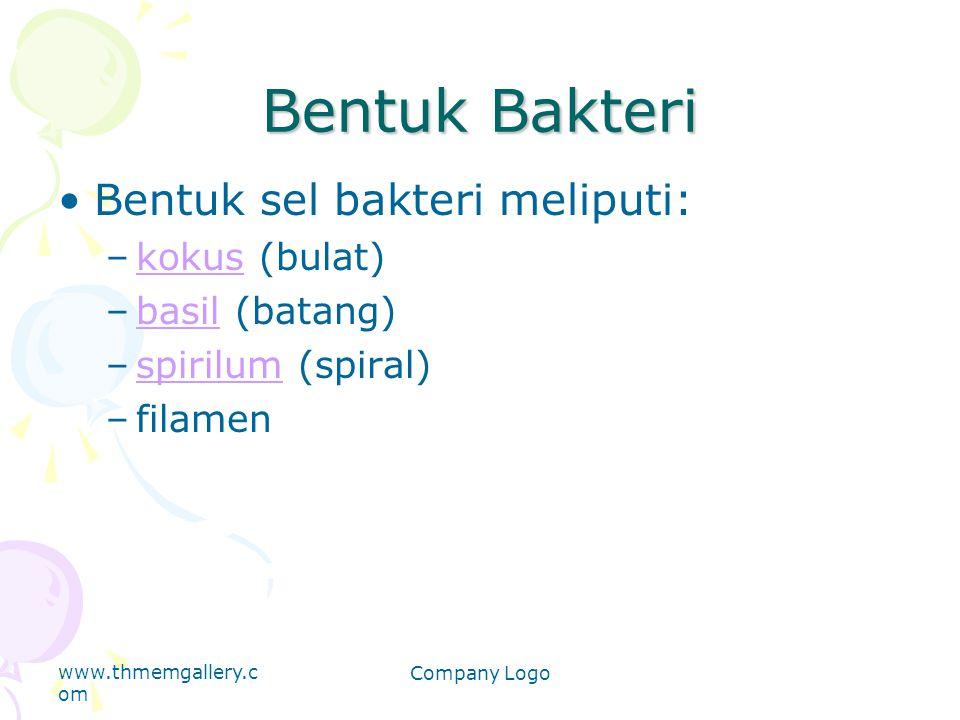 Bentuk Bakteri Bentuk sel bakteri meliputi: kokus (bulat)