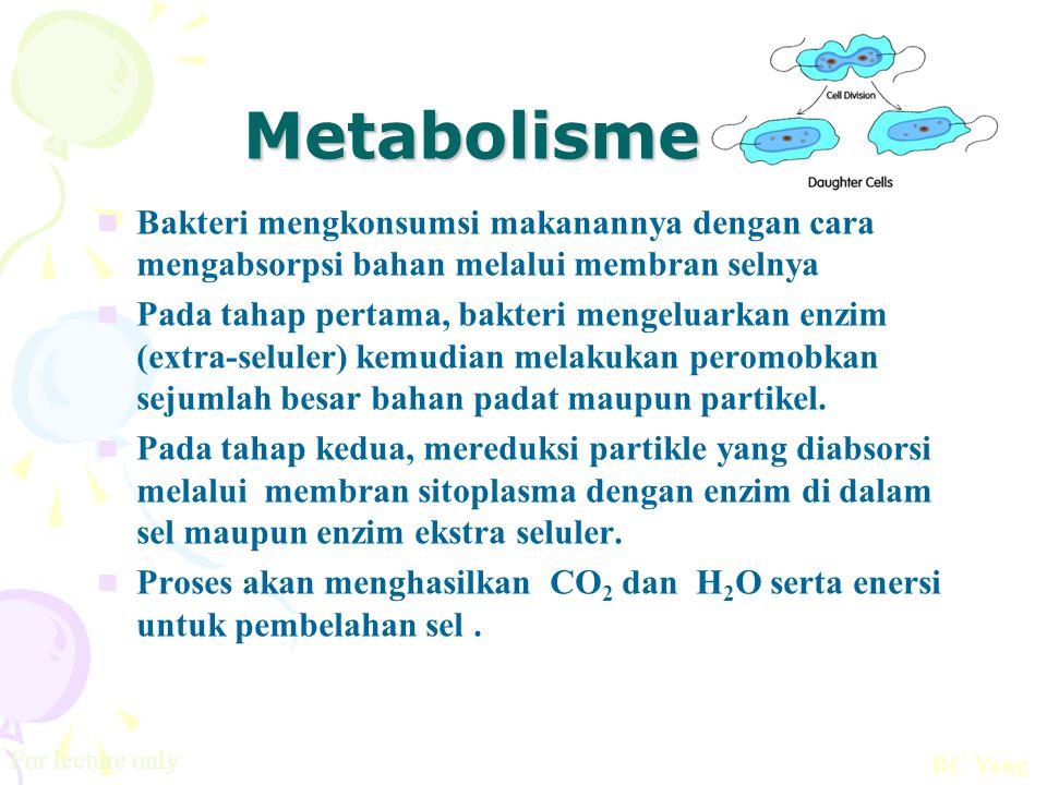 Metabolisme Bakteri mengkonsumsi makanannya dengan cara mengabsorpsi bahan melalui membran selnya.