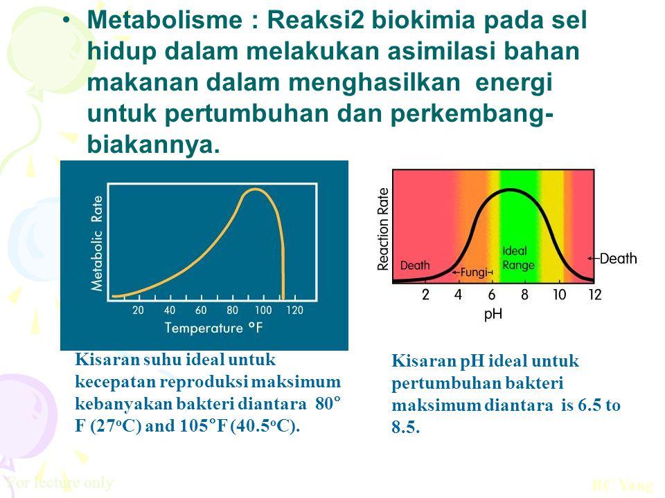 Metabolisme : Reaksi2 biokimia pada sel hidup dalam melakukan asimilasi bahan makanan dalam menghasilkan energi untuk pertumbuhan dan perkembang-biakannya.