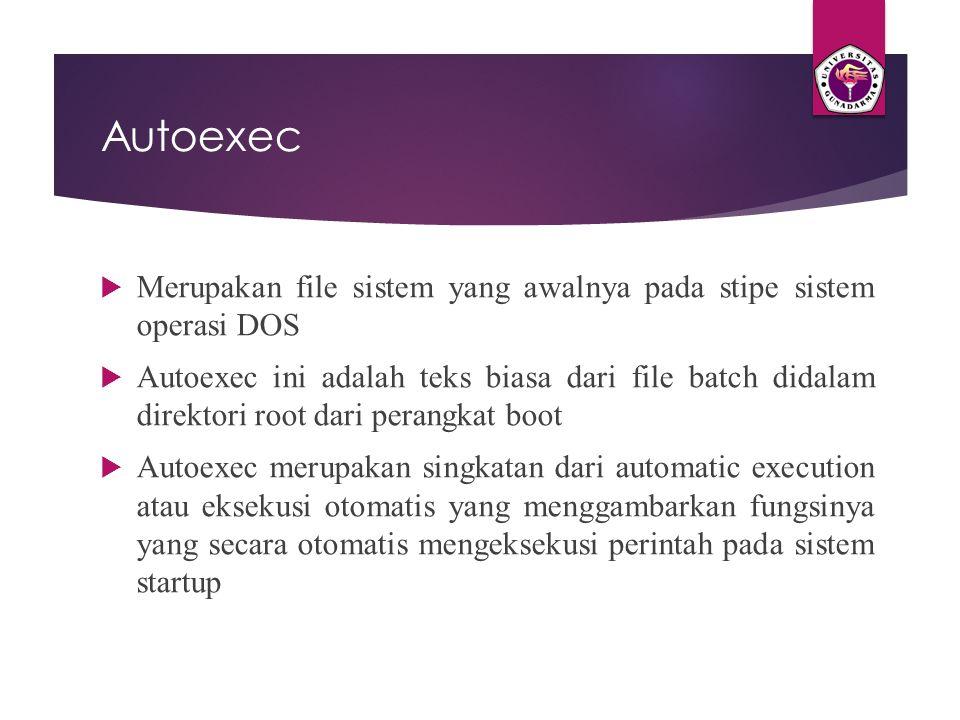Autoexec Merupakan file sistem yang awalnya pada stipe sistem operasi DOS.