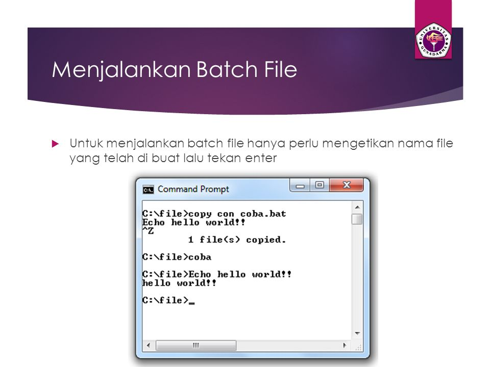 Menjalankan Batch File