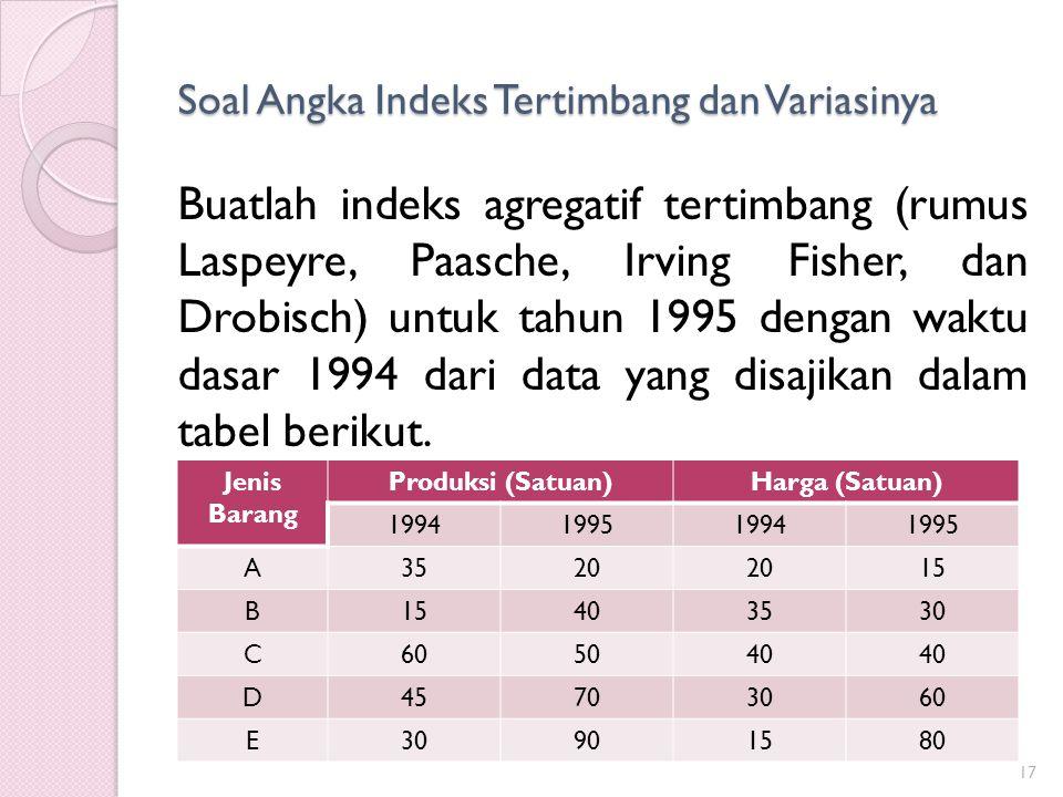 Soal Angka Indeks Tertimbang dan Variasinya