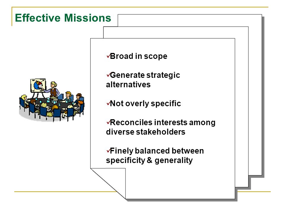 Effective Missions Broad in scope Generate strategic alternatives