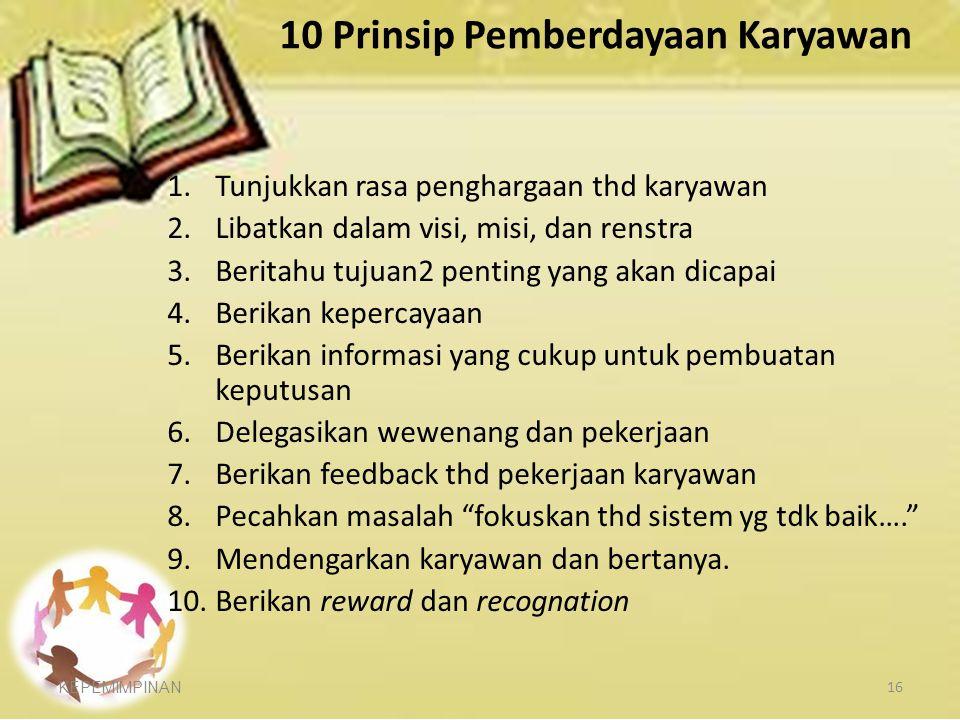 10 Prinsip Pemberdayaan Karyawan