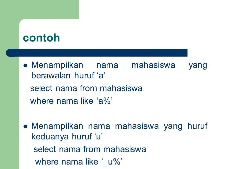 contoh Menampilkan nama mahasiswa yang berawalan huruf 'a'